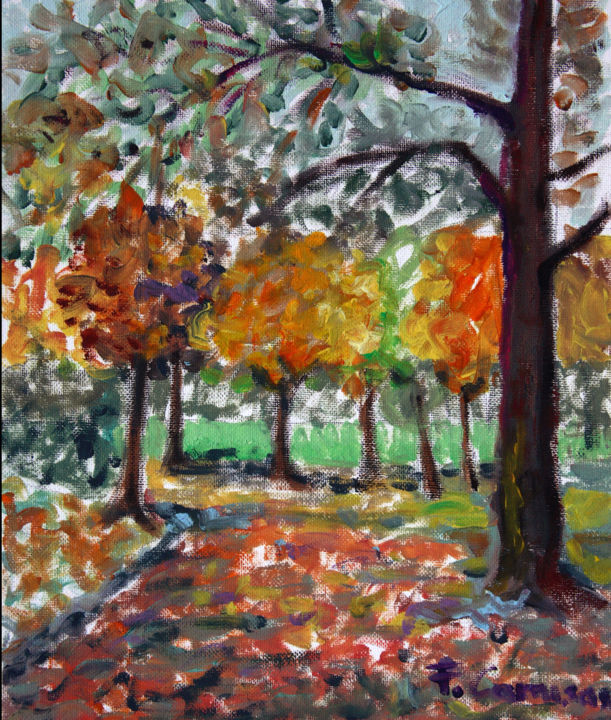 """Painting titled """"paesaggio-autunno-a…"""" by Francesca Camisasca, Original Art, Oil"""