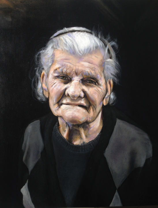 Hope - Pintura,  19,7x15,8x2 in, ©2015 por Francesco Filippelli -                                                                                                                                                                                                                                                                                                                                                                                                          Expressionism, expressionism-591, Mulheres, Old woman, Vecchia, Hope, Speranza, Old age