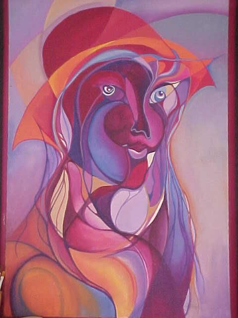 magenta - Painting,  31.5x19.7 in, ©2006 by Fanny Francia -
