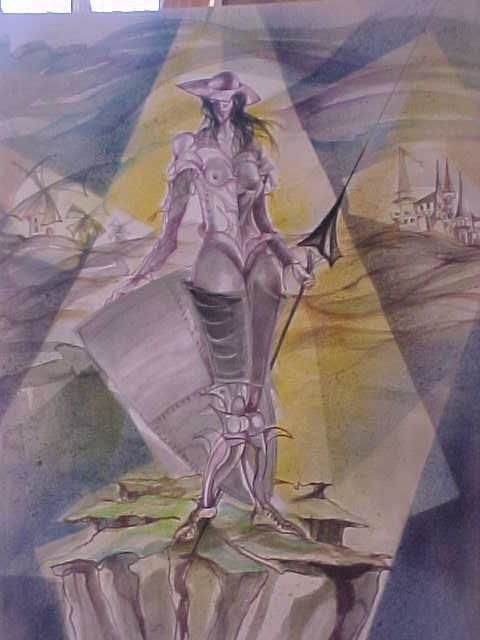 quijote femenino - Painting,  19.7x15.8 in, ©2006 by Fanny Francia -