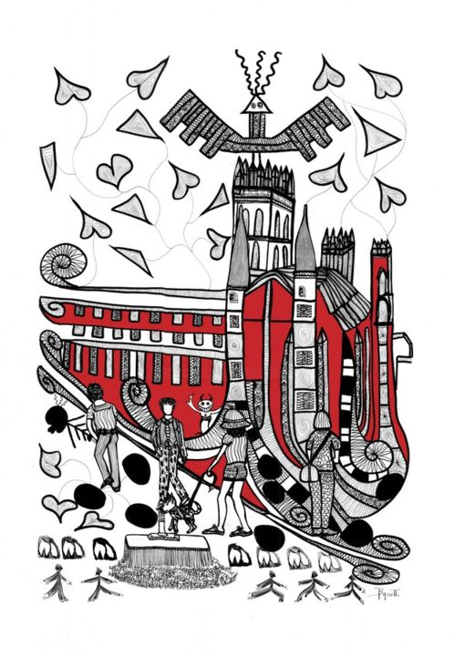 saint-pierre.jpg - Drawing,  31.5x23.6 in, ©2017 by Francine Bassetto -                                                                                                                                                                                                                                                                                                                                                                                                                                                                                                                                              Expressionism, expressionism-591, Architecture, People, artwork_cat.Cities, dessin, encre, rouge, argenté, noir, illustration