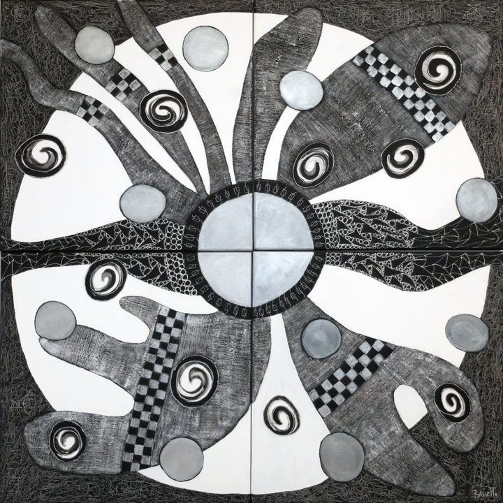La Roue tourne - Painting,  39.4x39.4x1 in, ©2020 by Francine Bassetto -                                                                                                                                                                                                                                                                                                                  Abstract, abstract-570, Abstract Art, noir, blanc, argent
