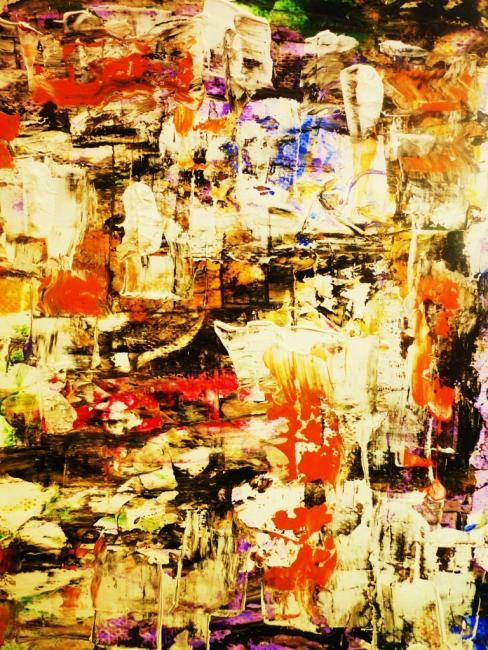 NUIT BLANCHE - Collect. Les larmes du petit matin - Painting,  30x40 cm ©2012 by Francine Barbaray -                        Abstract Art