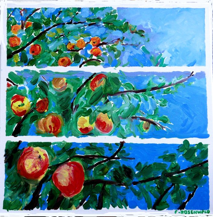 3-bandes-50x50.png - Painting,  19.7x19.7 in, ©2018 by Francine Rosenwald : Parcours Artistique En Images -