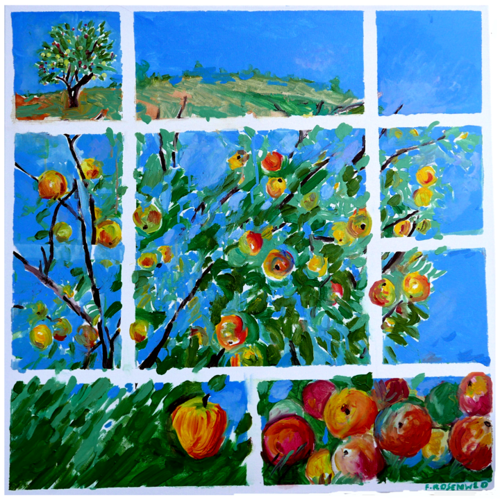 grand-pommier-80x80.png - Painting,  31.5x31.5 in ©2018 by Francine Rosenwald : parcours artistique en images -