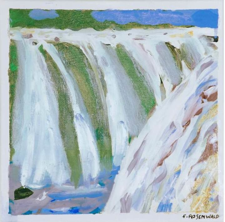 double chutes - Painting,  11.8x11.8 in, ©1 by Francine Rosenwald : Parcours Artistique En Images -