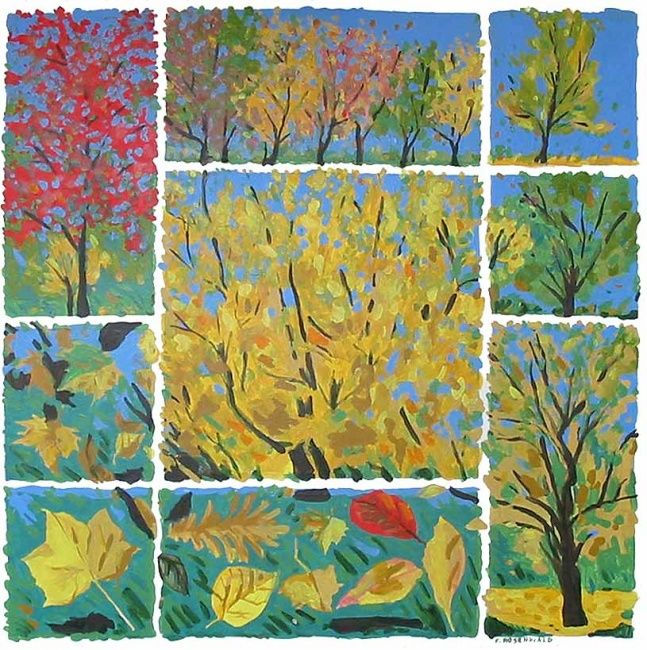 Automne - Painting,  39.4x39.4x0.4 in, ©2009 by Francine Rosenwald : Parcours Artistique En Images -