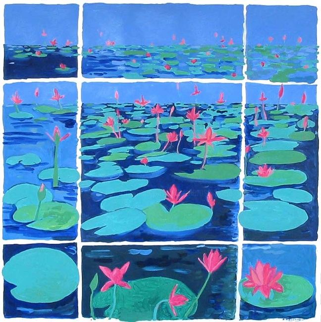 Lotus - Painting,  39.4x39.4 in ©2009 by Francine Rosenwald : parcours artistique en images -