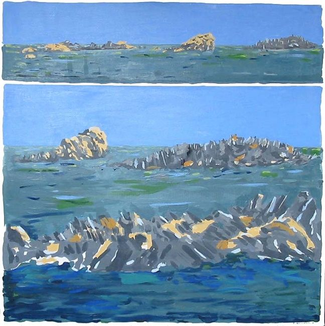 Côte sauvage - Painting,  39.4x39.4 in, ©2009 by Francine Rosenwald : Parcours Artistique En Images -