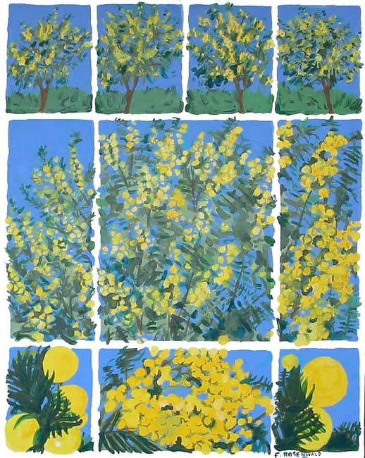Mimosas - Painting,  35.8x27.6 in ©2009 by Francine Rosenwald : parcours artistique en images -