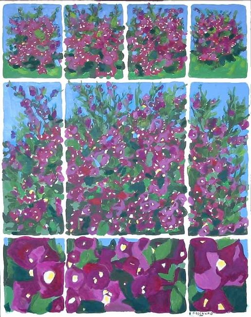 Bougainvilliers - Painting,  35.8x27.6 in, ©2009 by Francine Rosenwald : Parcours Artistique En Images -