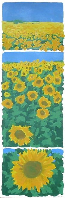 Tournesols - Painting,  35.4x1.2x0.4 in, ©2009 by Francine Rosenwald : Parcours Artistique En Images -