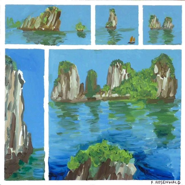 Baie Halong (petit) - Painting,  19.7x19.7 in, ©2009 by Francine Rosenwald : Parcours Artistique En Images -