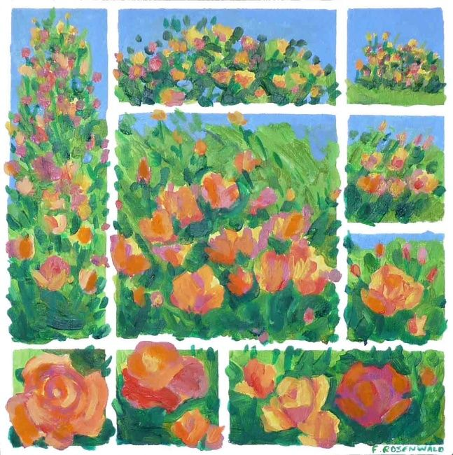 Roses - Painting,  19.7x19.7 in, ©2009 by Francine Rosenwald : Parcours Artistique En Images -