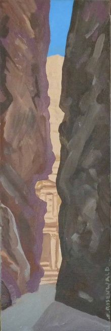 Petra - Painting,  7.9x23.6 in ©2009 by Francine Rosenwald : parcours artistique en images -