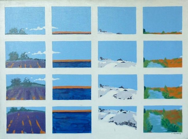 Paysage décalage - Painting,  21.3x28.7 in ©2009 by Francine Rosenwald : parcours artistique en images -