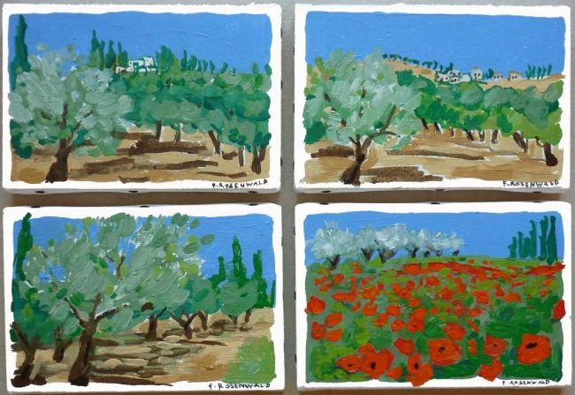 4 mini oliviers - Painting,  4.7x7.1 in, ©2009 by Francine Rosenwald : Parcours Artistique En Images -