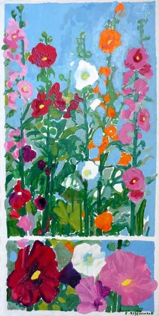 Jardin sauvage - Painting,  15.8x31.5 in ©2010 by Francine Rosenwald : parcours artistique en images -