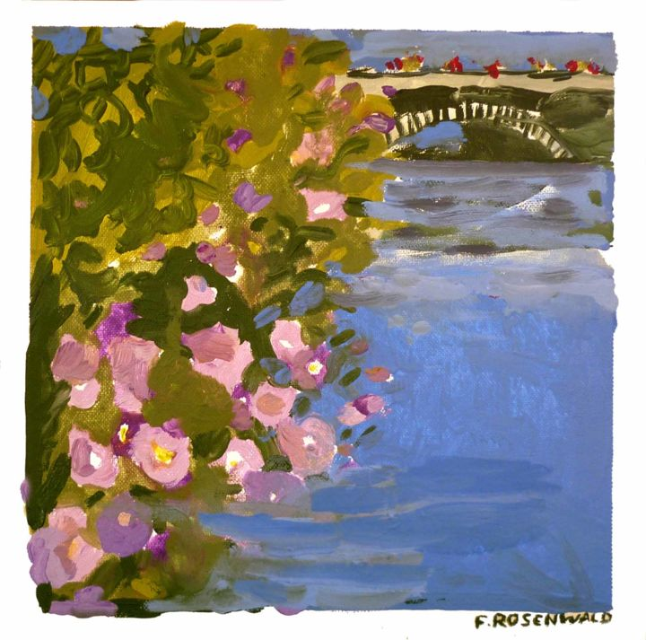 le pont - Painting,  11.8x11.8 in ©2014 by Francine Rosenwald : parcours artistique en images -                        Contemporary painting