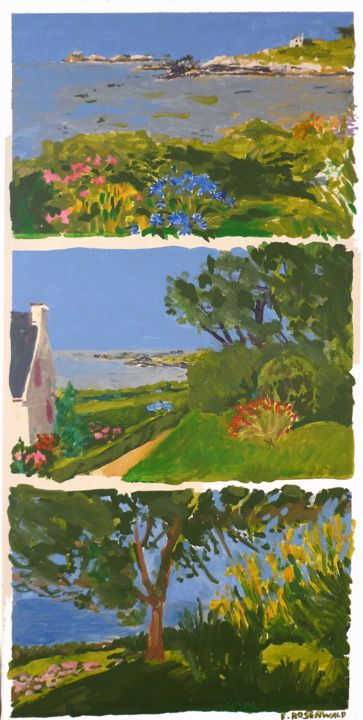 locquirec.jpg - Painting,  31.5x15.8 in, ©2014 by Francine Rosenwald : Parcours Artistique En Images -