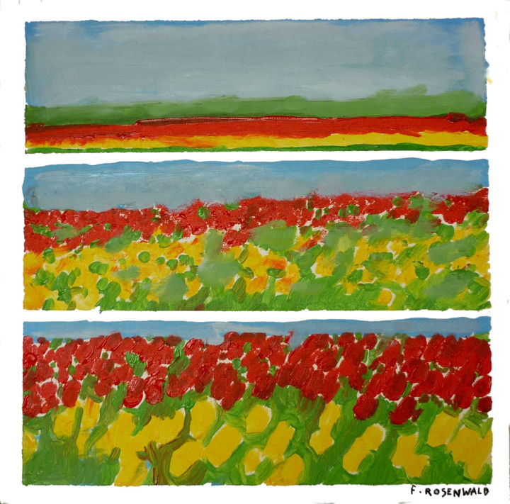 tulipes-30x30.jpg - Painting,  11.8x11.8 in, ©2015 by Francine Rosenwald : Parcours Artistique En Images -