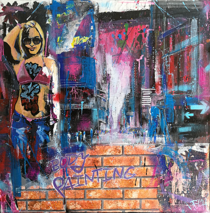body-painting-80x80.png - Painting,  80x80x1.5 cm ©2019 by Francis L'Huillier -                                                                    Street Art (Urban Art), Women, Wall, Cityscape, Francis L'Huillier, artiste peintre, painter, streetart, ville