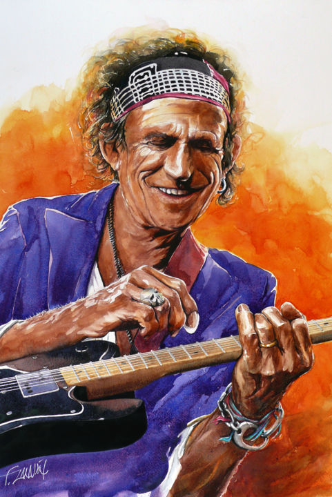 keith-richards-guitare.jpg - Painting,  23.6x15.8 in, ©2014 by François Lanvin -                                                                                                                                                                                                      Celebrity, Rolling Stones, Keith Richards, Guitare