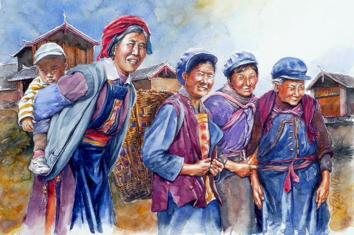 yunnan-paysannes.jpg - Painting,  15.8x23.6 in, ©2013 by François Lanvin -                                                                                                                                                                                                                                                                                                                  Figurative, figurative-594, Asia, Yunnan, Chine, Paysannes