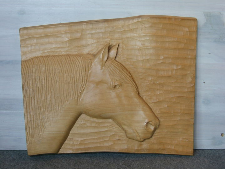Tête de cheval - Sculpture,  15.4x18.9 in, ©2003 by François Micoud -                                                                                                                                                                                                                                                                                                                                                                                                                                                                                                                                                                                                                                                                                      Figurative, figurative-594, Wood, Animals, Horses, Nature, animal, animaux, cheval, chevaux, mammifère, relief, bas-relief, tête