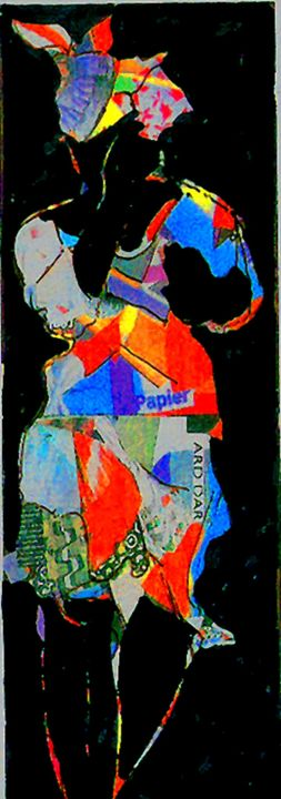 creole 5 - Collages,  15.8x5.1 in, ©2008 by Francois MOLLON GROS-DESORMEAUX -                                                                                                                                                                                                                          Expressionism, expressionism-591, World Culture, femmes créoles