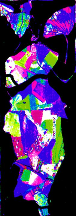 creole 4 - Collages,  15.8x5.1 in, ©2008 by Francois Mollon Gros-Desormeaux -                                                                                                                                                                                                                          Expressionism, expressionism-591, World Culture, femmes créoles