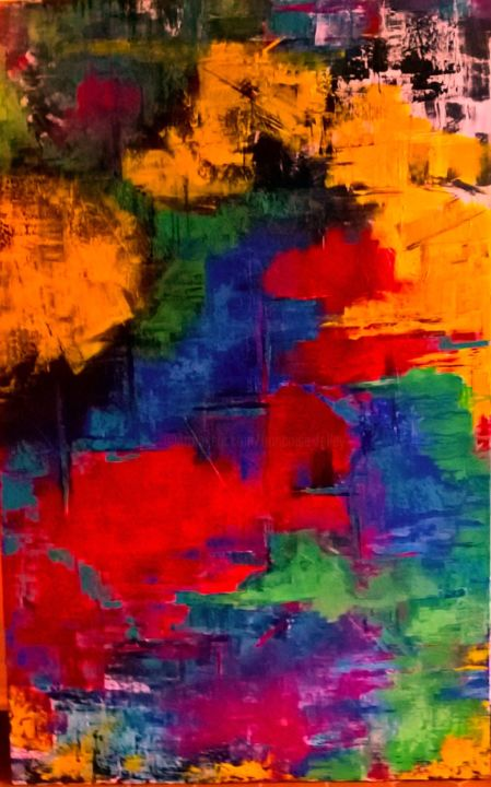 Couleurs 4 - Peinture,  47,2x29,5x1,2 in, ©2020 par Françoise Folley -                                                                                                                          Abstract, abstract-570