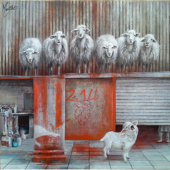Les moutons - Painting,  40x40x3.5 cm ©2018 by Françoise Maillet -                                        Contemporary painting, Animals