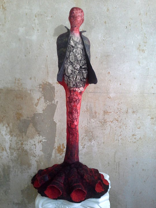 Rédemption - Sculpture,  64x31 cm ©2019 by Françoise Maillet -                                            Other, Women, Art textile