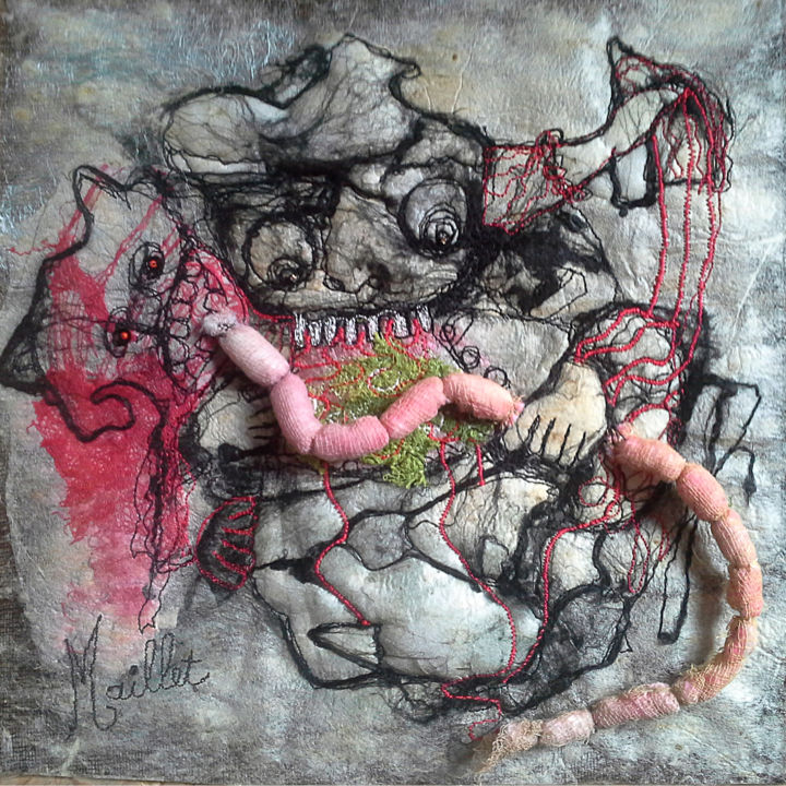 Mange ! - Textile Art,  9.8x9.8x0.2 in, ©2019 by Françoise Maillet -                                                                                                                                                                                                                                                                                                                                                                                                                                                                                              Outsider Art, outsider-art-1044, tableau textile, francoise maillet, art textile, fiberart, textileart, fiberartistes, surface texture, #ArtistSupportPledge