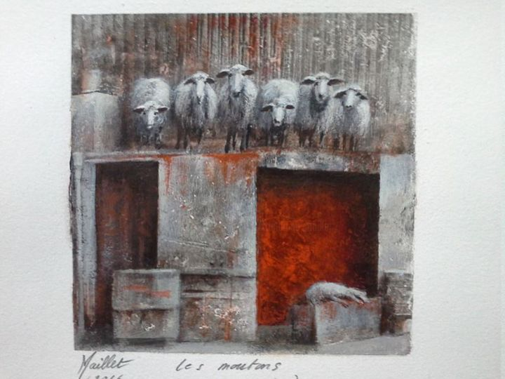 Les moutons - Painting,  5.1x5.1 in, ©2016 by Françoise Maillet -                                                                                                                                                      Animals, History, Time
