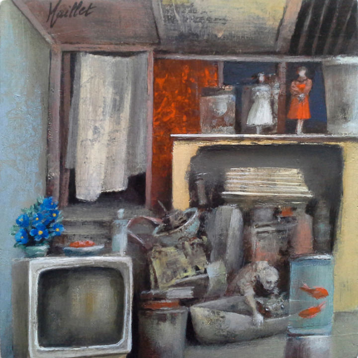 Bas de plafond - Painting,  15x15x3.5 cm ©2016 by Françoise Maillet -                                                                Contemporary painting, Interiors, Time, Cities