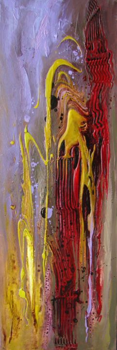 abstrait-6-30-x-90.jpg - Painting,  90x30 cm ©2014 by Françoise Hannequin -                                        Abstract Art, Canvas