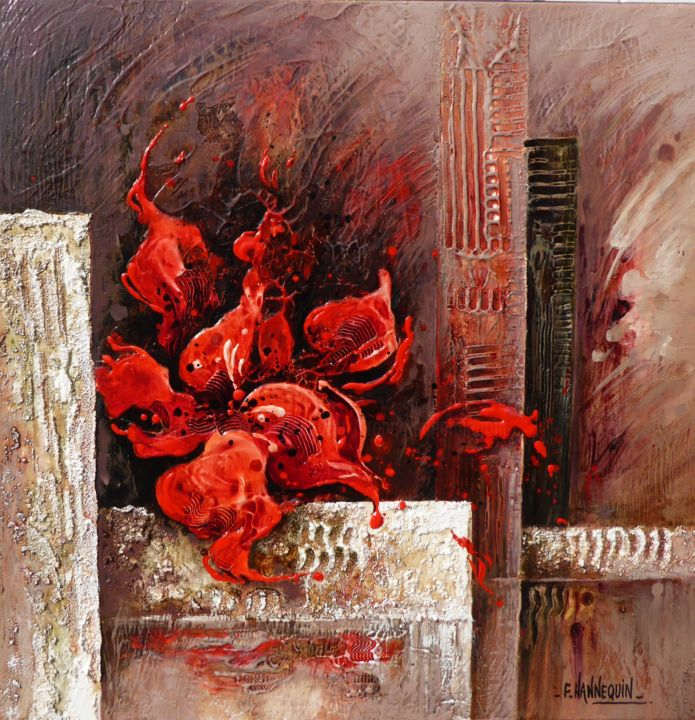 amaryllis-rouge-50-x-50.jpg - Painting,  19.7x19.7 in, ©2016 by Françoise Hannequin -                                                                                                              Flower, Bouquet