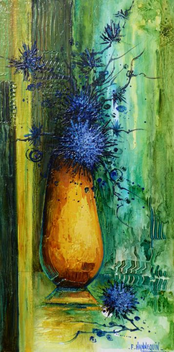 le-vase-jaune-30-x-60.jpg - Painting,  60x30 cm ©2016 by Françoise Hannequin -                                                            Contemporary painting, Canvas, Flower, Bouquet