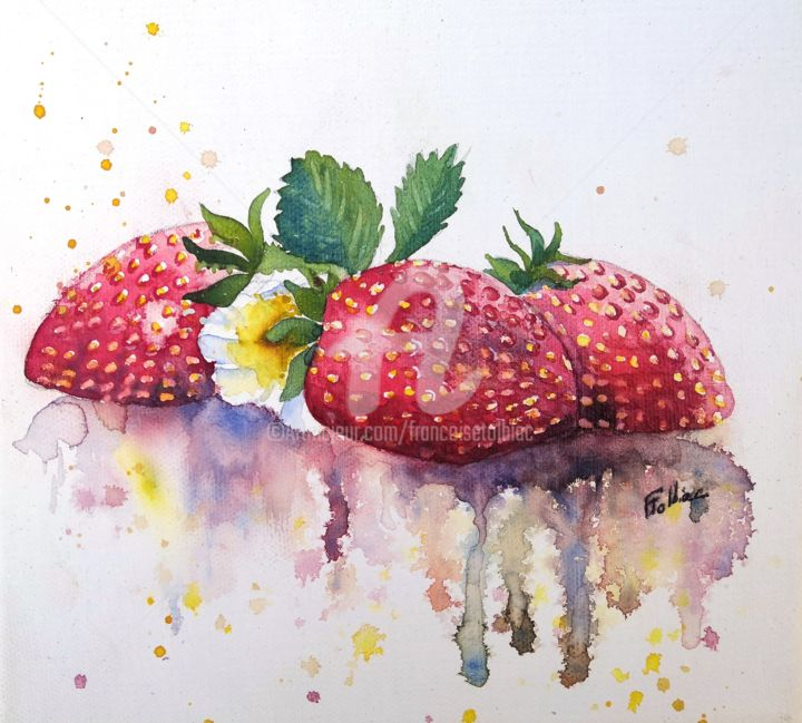 2018-7-fraises.jpg - Painting,  20x20 cm ©2018 by Françoise TOLBIAC -                                            Figurative Art, Performing Arts, fraises, aquarelle, fruits, rouge