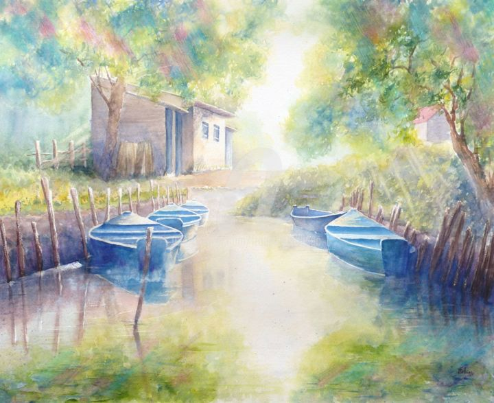 En Brières - Painting,  19.7x27.6 in, ©2019 by Françoise TOLBIAC -                                                                                                                                                                                                                                                                                                                                                                                                                                                                                                                                                                                                                                                                                                                                                                          Figurative, figurative-594, Performing Arts, barques, bateaux, canaux, vendée, brière, étang, été, soleil couchant, boat, small boat, river, pond, sun