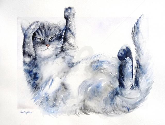 Chat-pitre - Painting,  15.8x19.7 in, ©2011 by Françoise TOLBIAC -                                                                                                                                                          Cats, chat, aquarelle