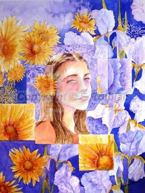 Diaphane - Painting,  60x50 cm ©2012 by Françoise TOLBIAC -                            Portraiture, tournesols, enfant, fillette, aquarelle, songe, iris