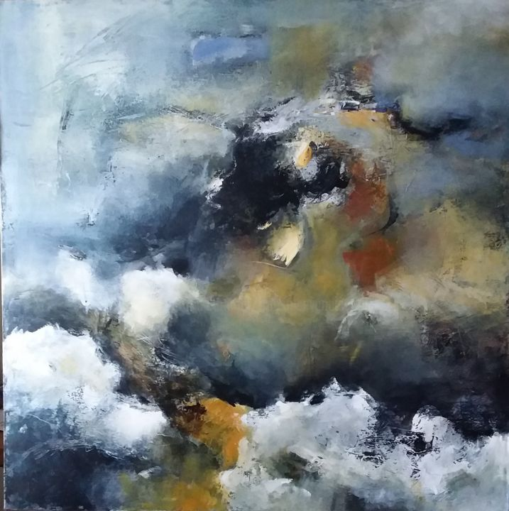 Là où le vent m'emmène - Painting,  39.4x39.4 in, ©2020 by Françoise Vandiedonck -                                                                                                                                                                          Abstract, abstract-570, Abstract Art