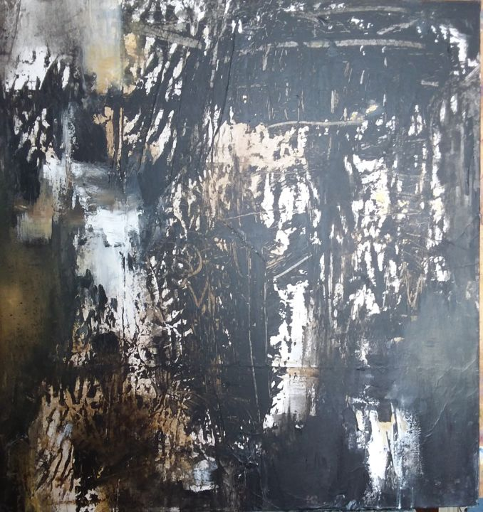 Le temps pétrifié I - Painting,  27.6x27.6 in, ©2020 by Françoise Vandiedonck -                                                                                                                                                                          Abstract, abstract-570, Abstract Art