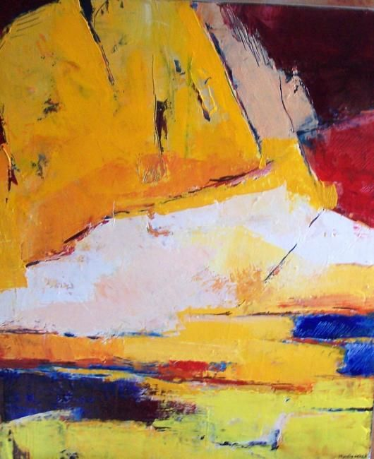 chemin jaune - Painting,  23.6x19.7 in, ©2007 by Françoise Vandiedonck -