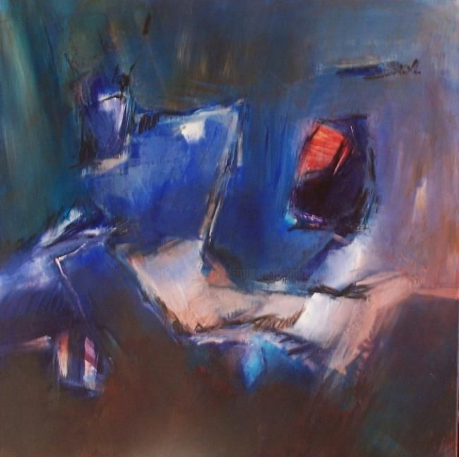 cassiopée - Painting,  31.5x31.5 in, ©2007 by Françoise Vandiedonck -