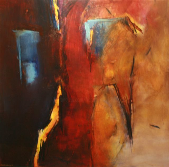 Hydre - Painting,  31.5x31.5 in, ©2006 by Françoise Vandiedonck -