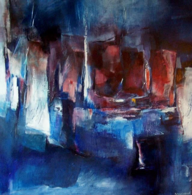 nuit blanche - Painting,  31.5x31.5 in, ©2008 by Françoise Vandiedonck -